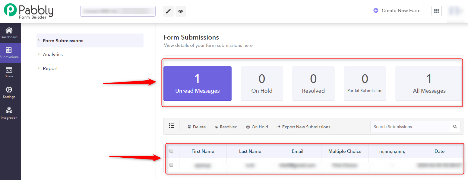 Form Submission Section-Pabbly Form Builder