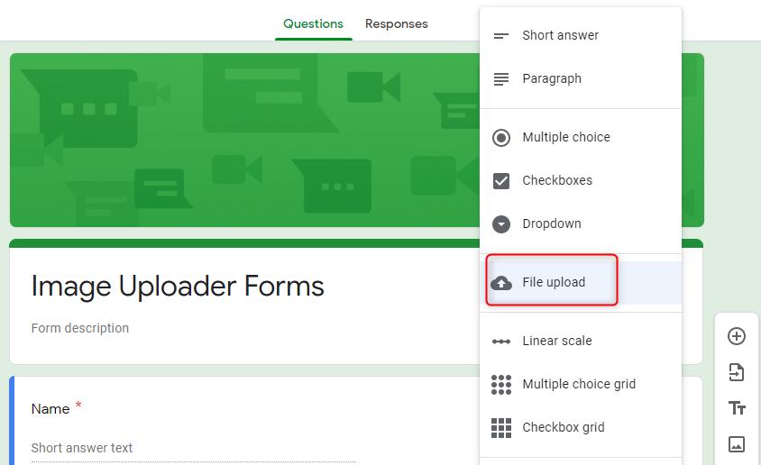 Add File Upload Option - Google Forms