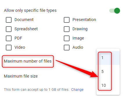 Maximum Number Of Files Option - Google Forms