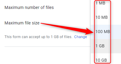 Specify File Size - Google Forms