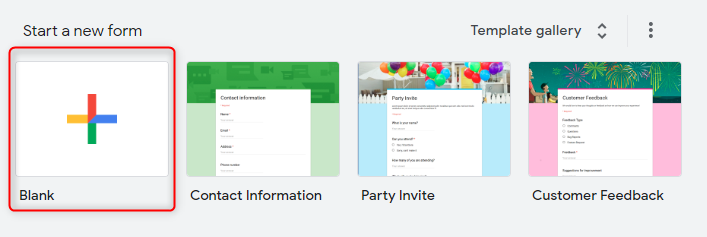 Create Form - Google Forms