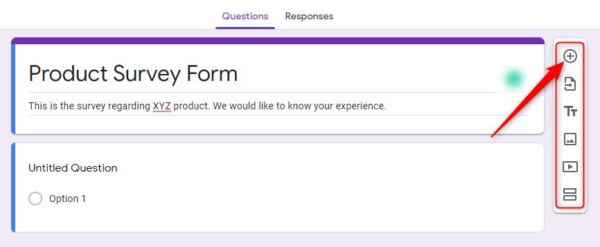Add Fields - Google Forms