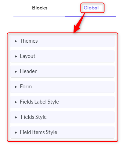 Global Section - Pabbly Form Builder