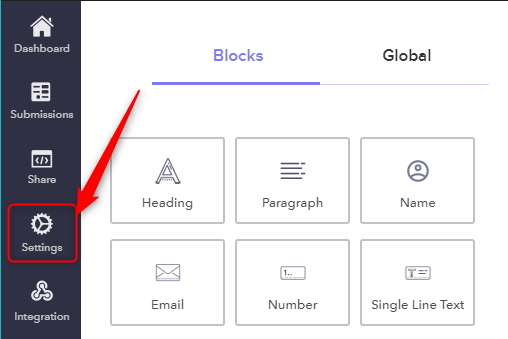 Open Setting Tab - Pabbly Form Builder