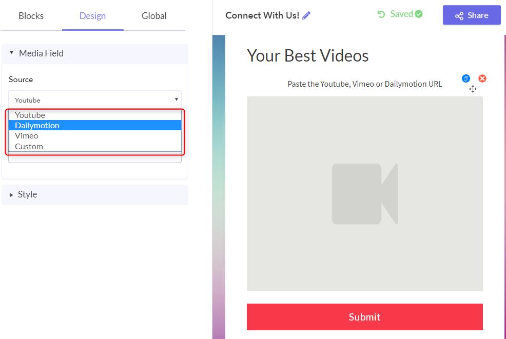 Add Video Sharing Platform - Pabbly Form Builder