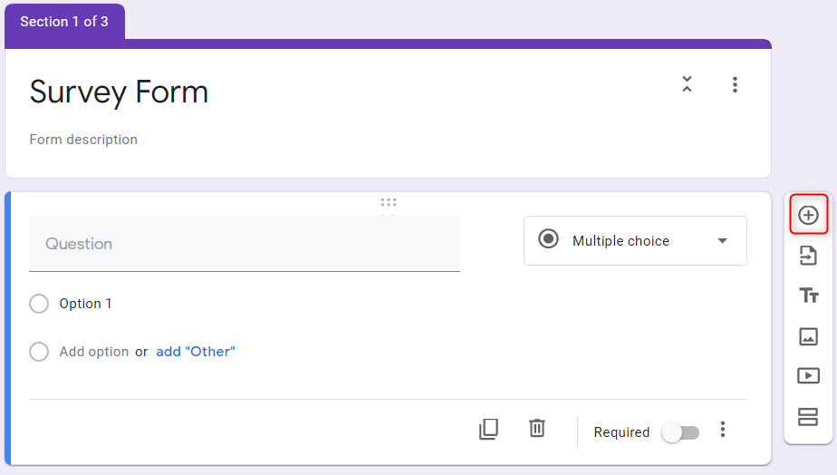 Add A Question - Google Forms