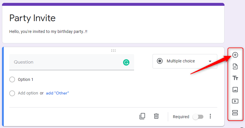 Add Question - Google Forms