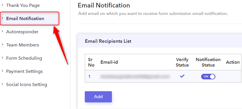 Click On Email Notifications - Pabbly Form Builder