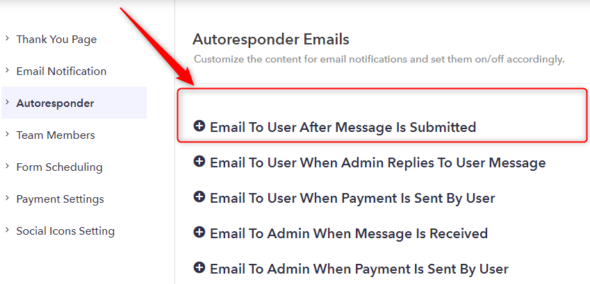 Choose From Autoresponder Emails - Pabbly Form Builder