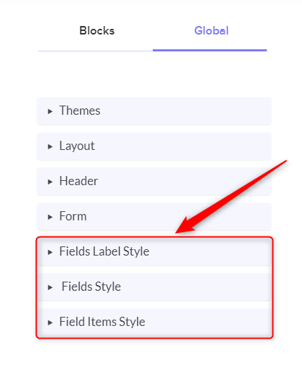 Click On Fields Style