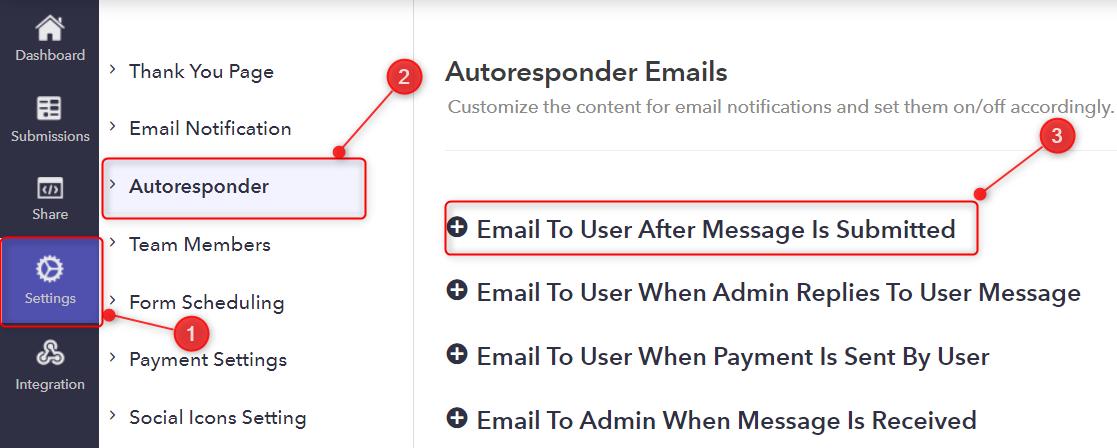 Go To Autoresponder Emails - Pabbly Form Builder