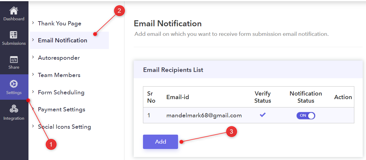 Go To Email Notifications - Pabbly Form Builder