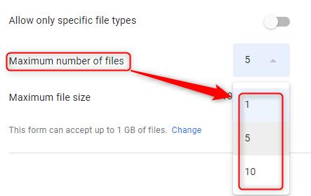 Modify File Number Limit - Google Forms
