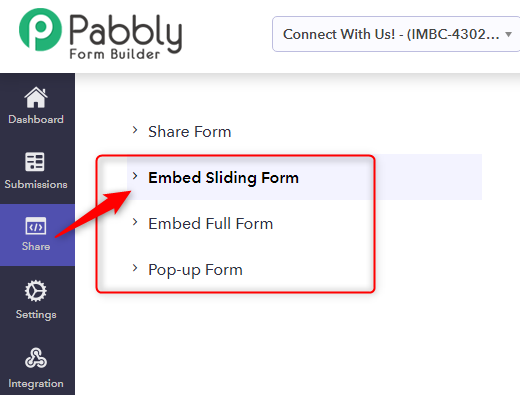 Select The Form Embedding Type - Pabbly Form Builder