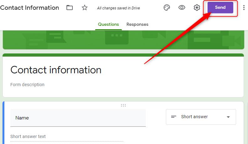 """Go To """"Send"""" Option - Google Forms"""