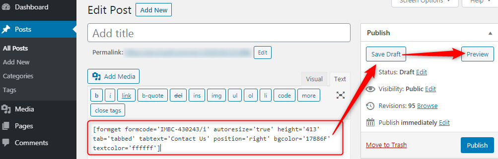 Paste The Code In The Post Of Your Webpage - Pabbly Form Builder