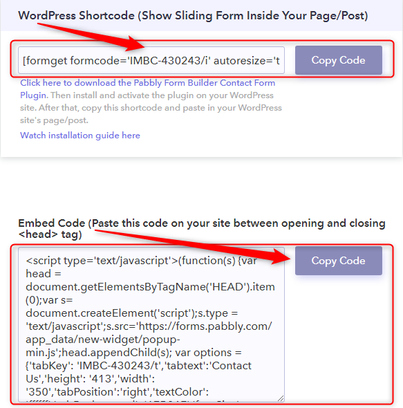 Copy The Shortcode - Pabbly Form Builder