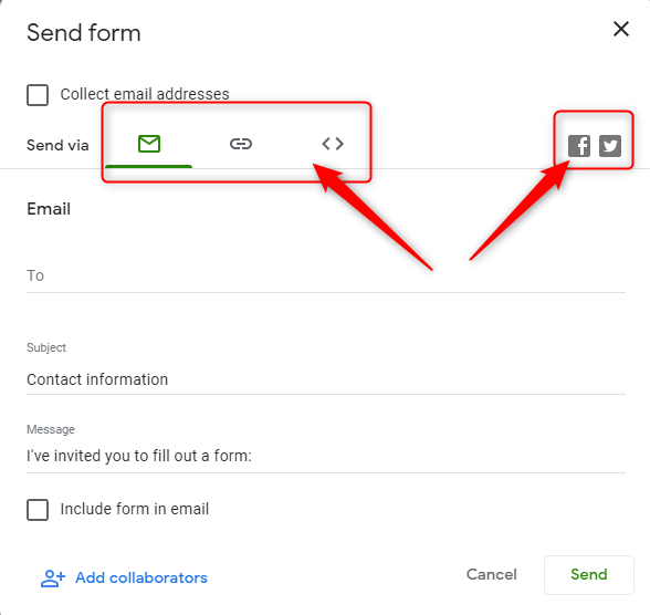 Choose The Form Sharing Option - Google Forms