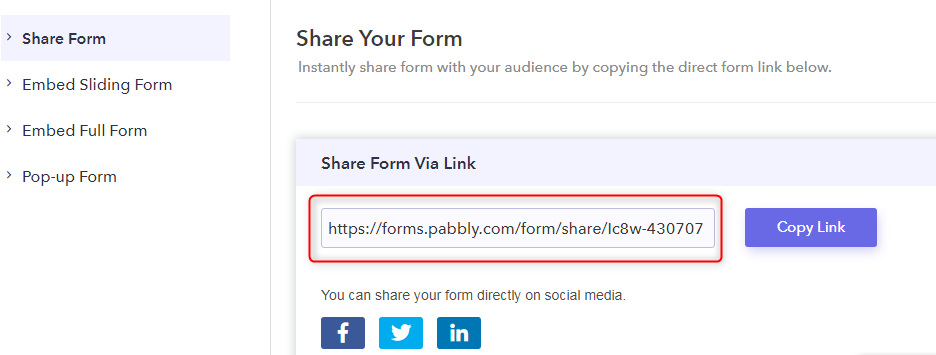 Share The Form - Pabbly Form Builder