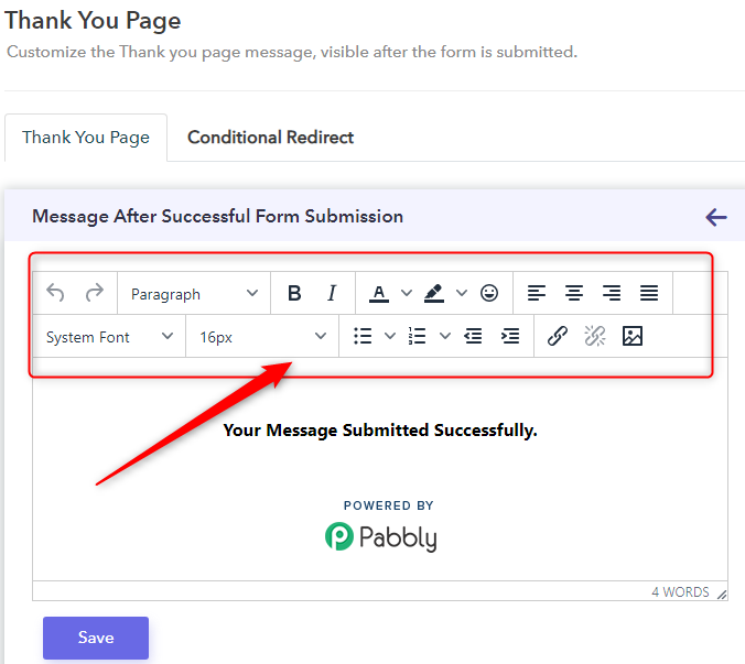 Edit Font/Font Size In Confirmation Message - Pabbly Form Builder
