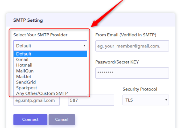 Select Your SMTP Server