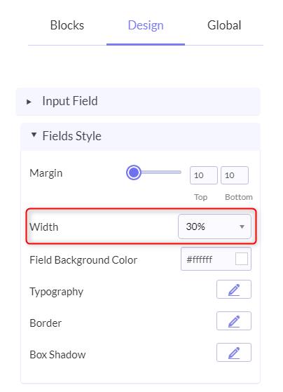 Specify Field Width - Pabbly Form Builder