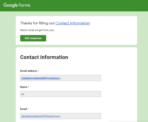 Submitted Response - Google Forms