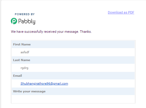Submitted Response - Pabbly Form Builder