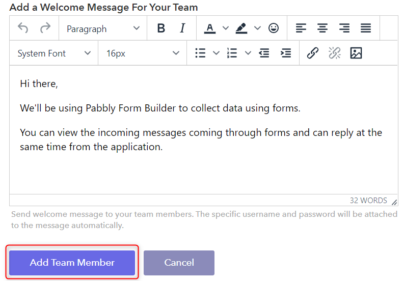 Add Welcome Message And Send Email -Pabbly Form Builder