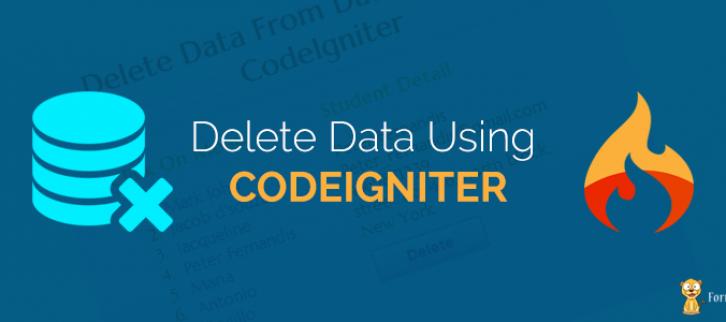 CodeIgniter Delete Data From Database