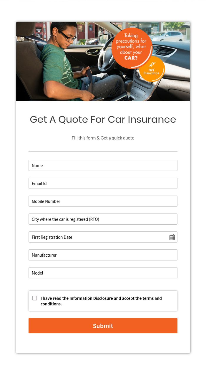 Get Car Insurance Quotes >> Create Get A Quote Form For Car Insurance Companies Formget